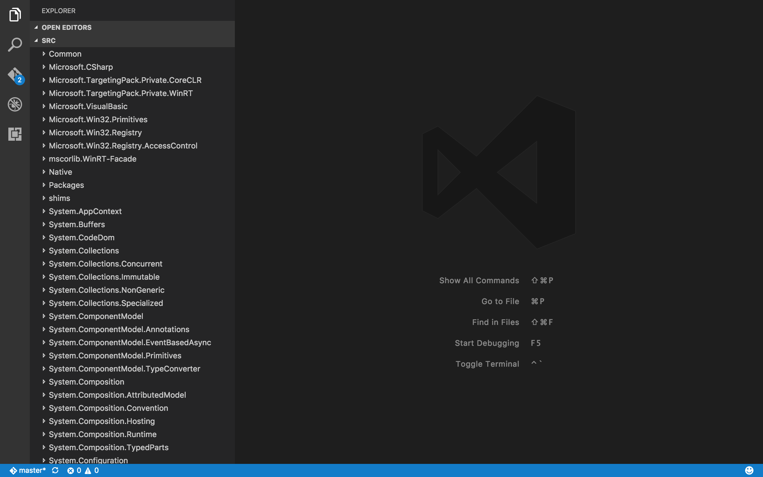 Visual Studio Code with the CoreFX source code loaded.