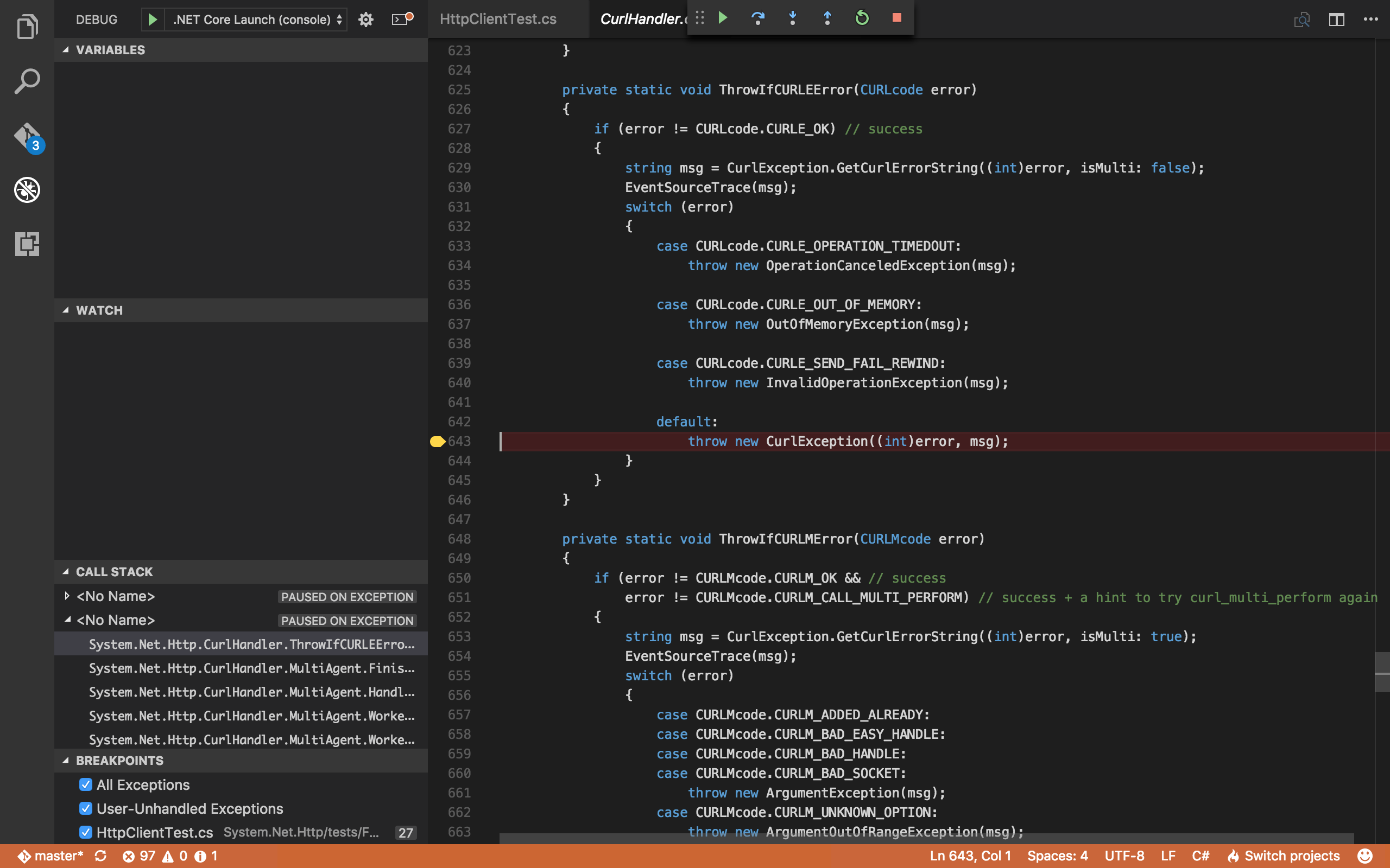 Visual Studio Code, debugging CurlHandler.ThrowIfCURLError