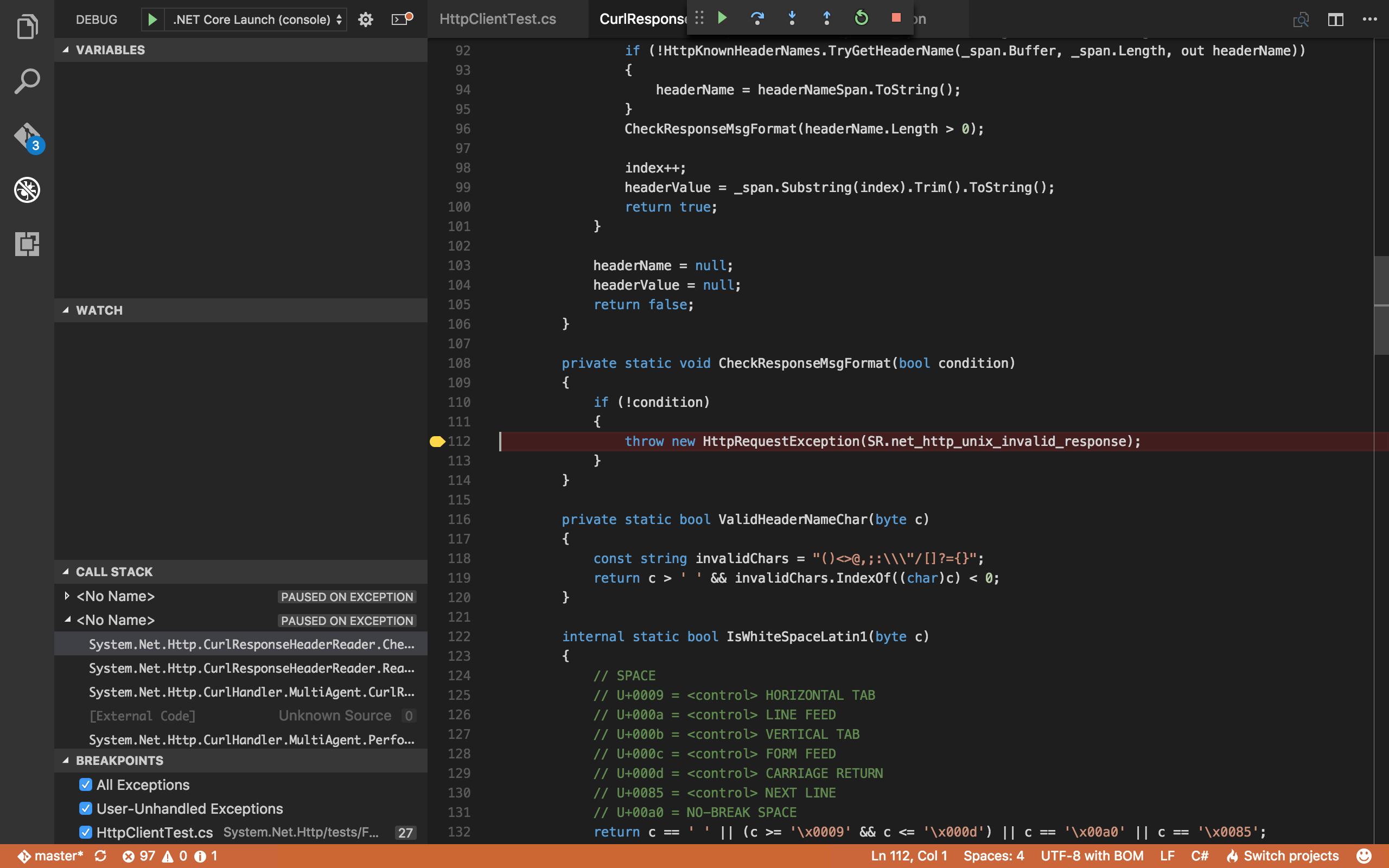 Visual Studio Code, debugging CurlResponseHeaderReader.CheckResponseMsgFormat