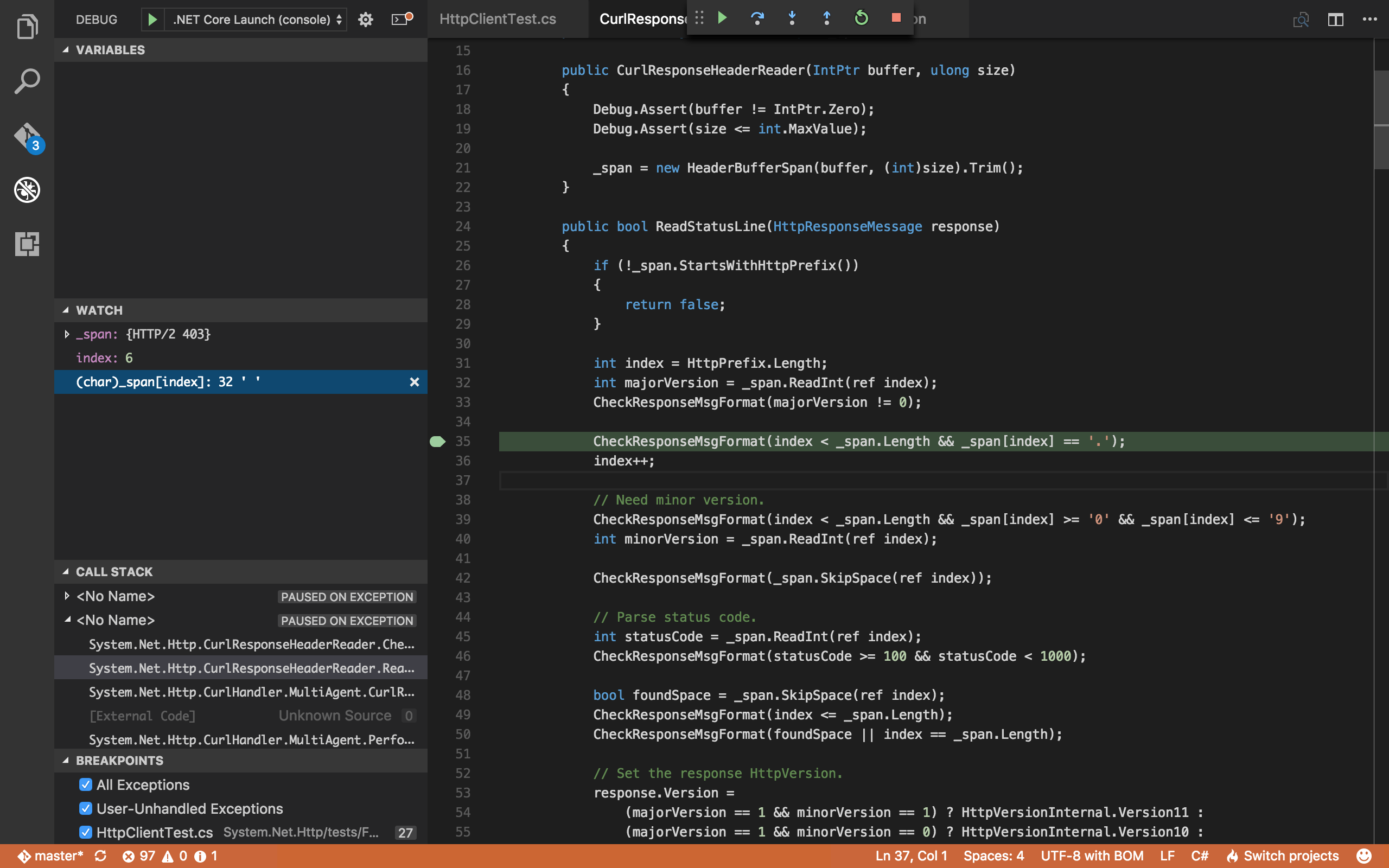 Visual Studio Code, debugging CurlResponseHeaderReader.ReadStatusLine