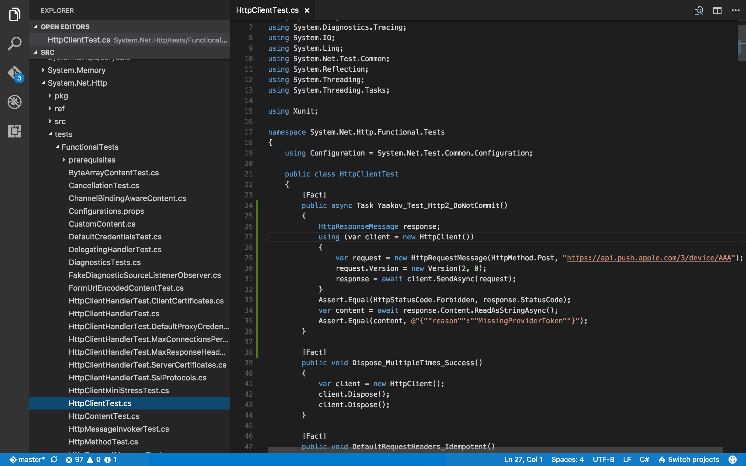 Visual Studio Code, with a new unit test written.