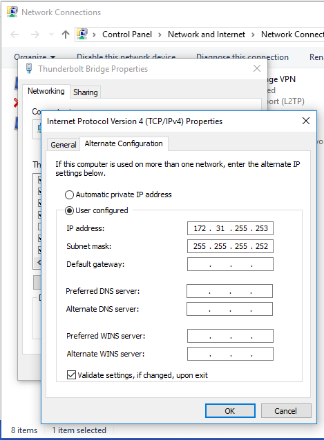 TCP/IP settings for a Thunderbolt Bridge adapter in Windows 10 showing a valid configuration