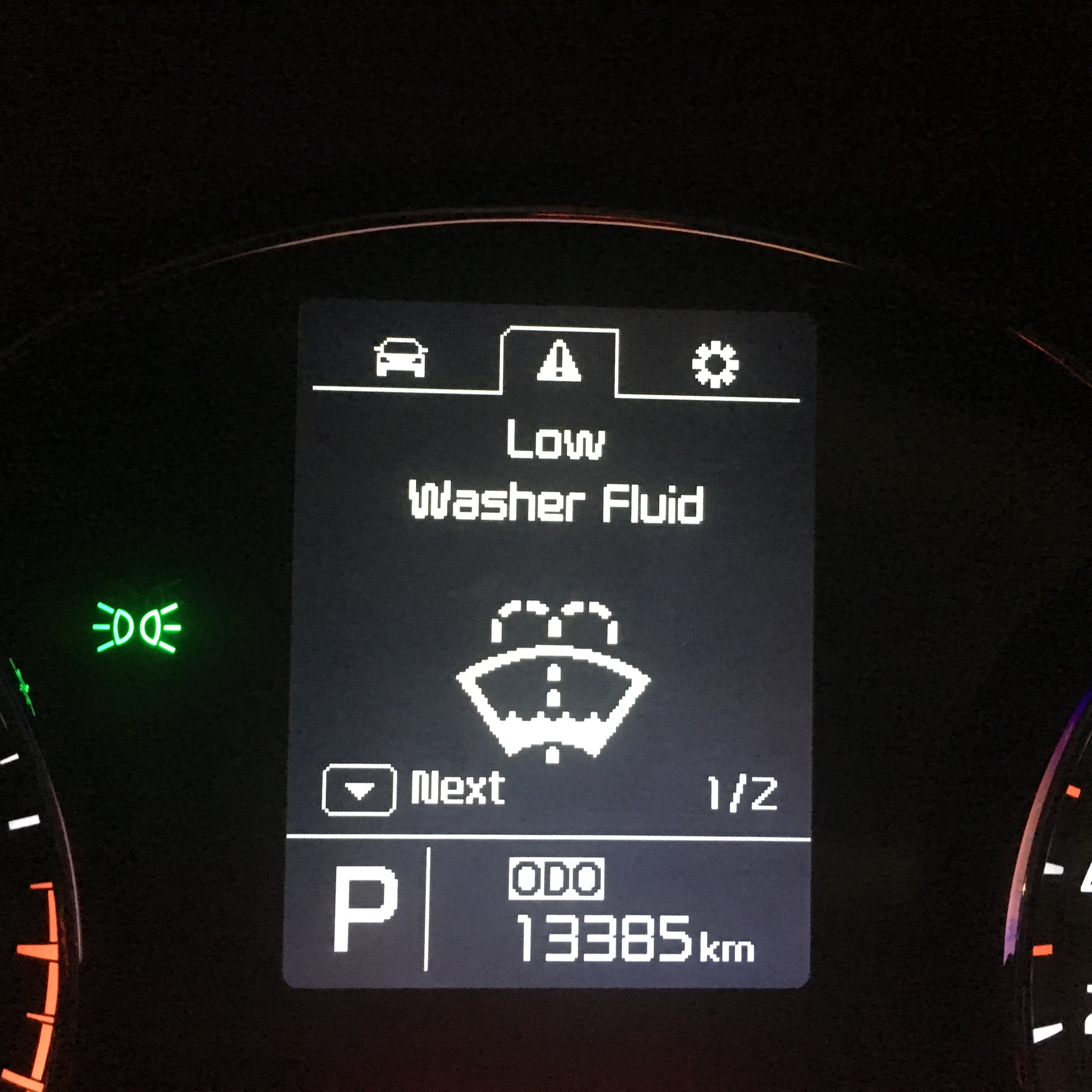 Kia's Low Washer Fluid alert